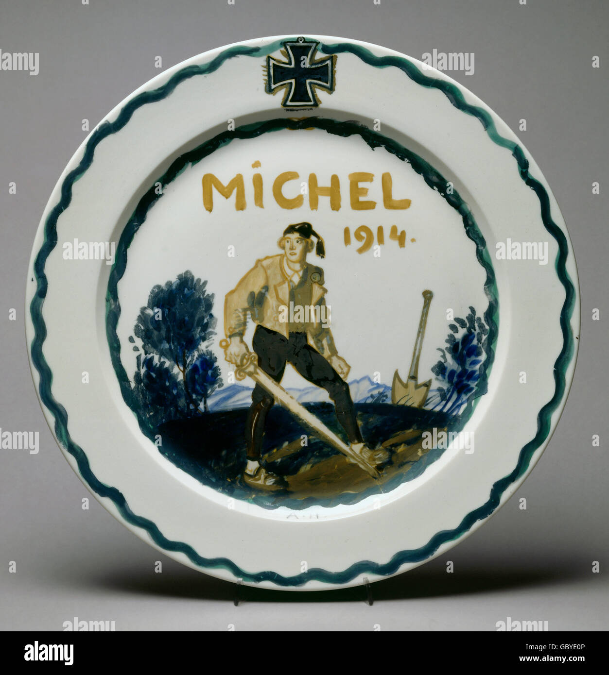 fine arts, porcelain, Nymphenburg porcelain, wall plate number 967, with 'The German Michel', 1914, design: - Stock Image