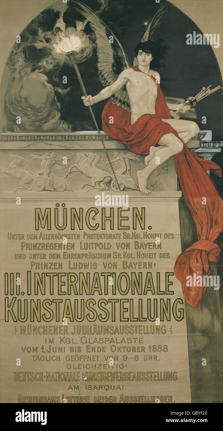 exhibitions, countries, Germany, 3rd International Art Exhibition, Munich, June - October 1888, Additional-Rights - Stock Image