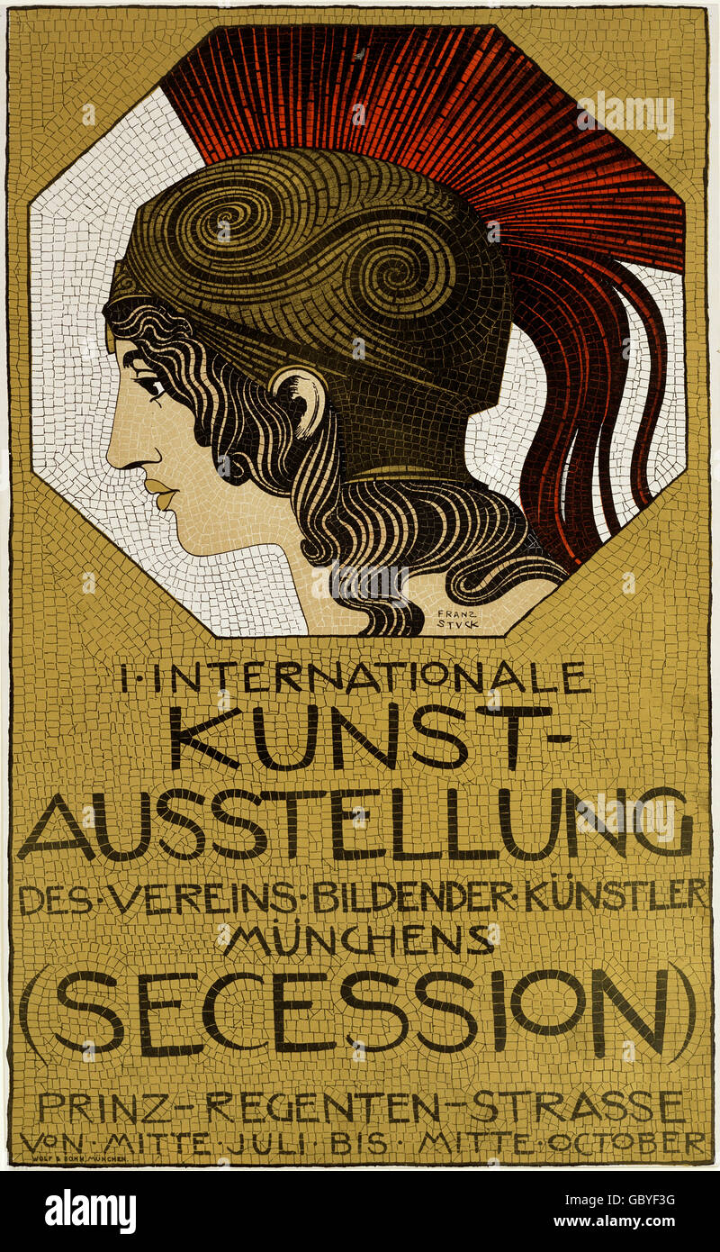 exhibitions, countries, Germany, 1st International Art Exhibitions (Secession), Association of Visual Artists, poster - Stock Image