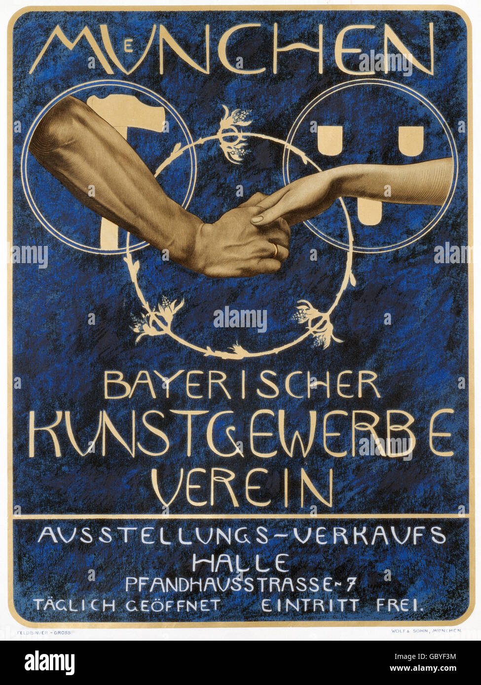 exhibitions, industry, exhibition of the Bavarian arts-and-crafts association, poster, Munich, circa 1900, Additional - Stock Image