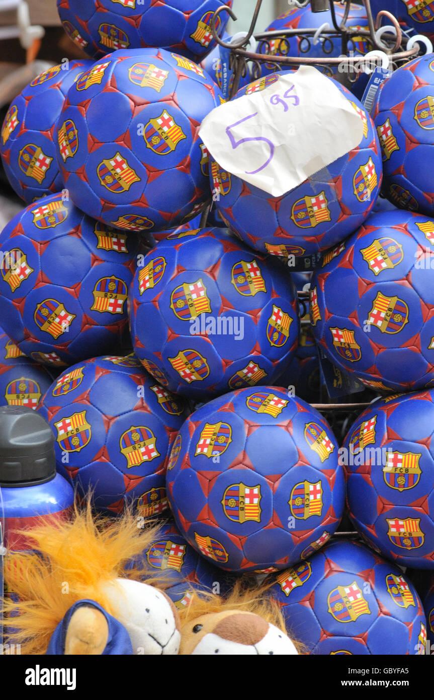 Soccer balls for sale. La Rambla. Barcelona, Catalonia, Spain - Stock Image