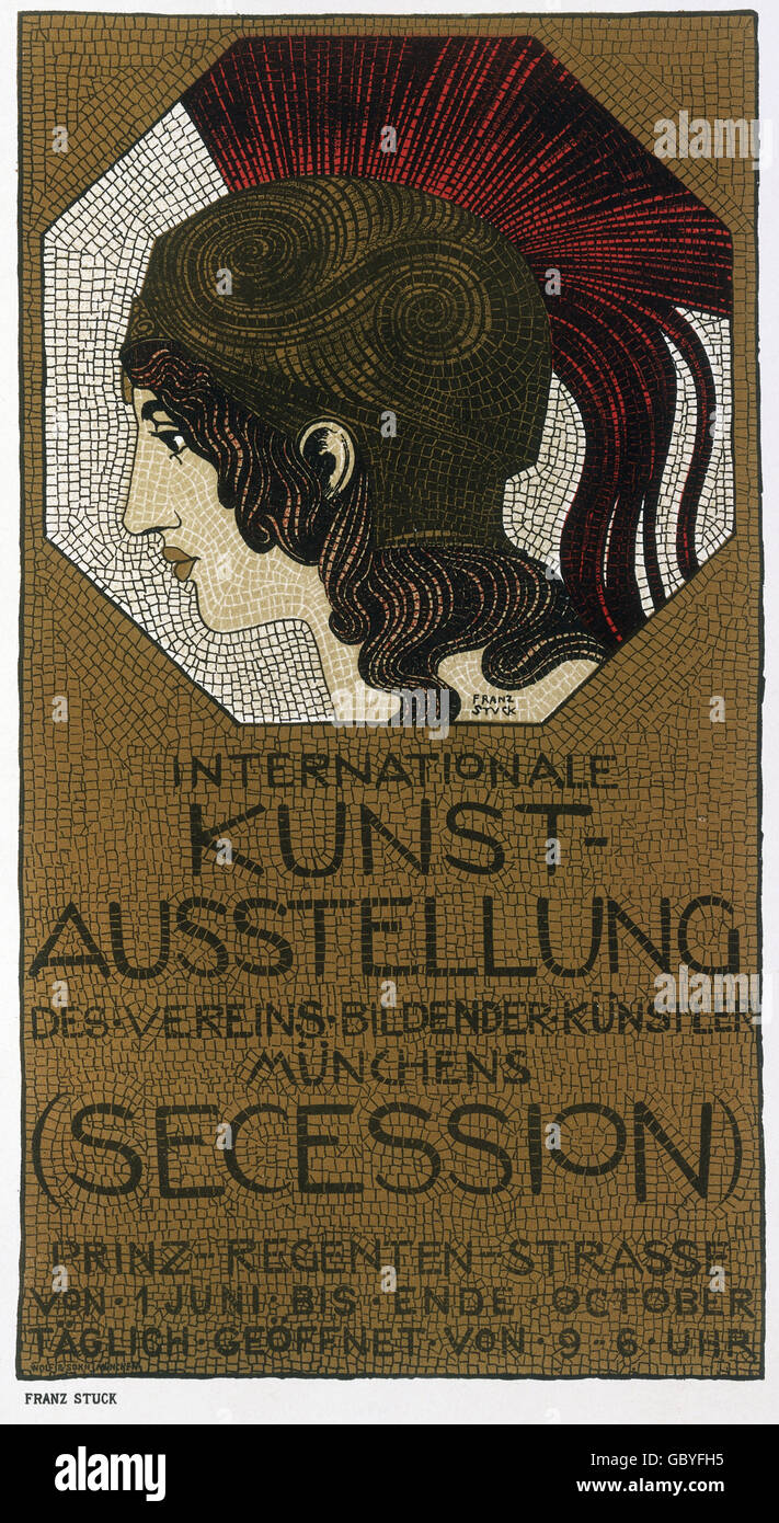 exhibitions, poster for the international art exhibition of the Munich Secession, with Minerva head by Franz von - Stock Image