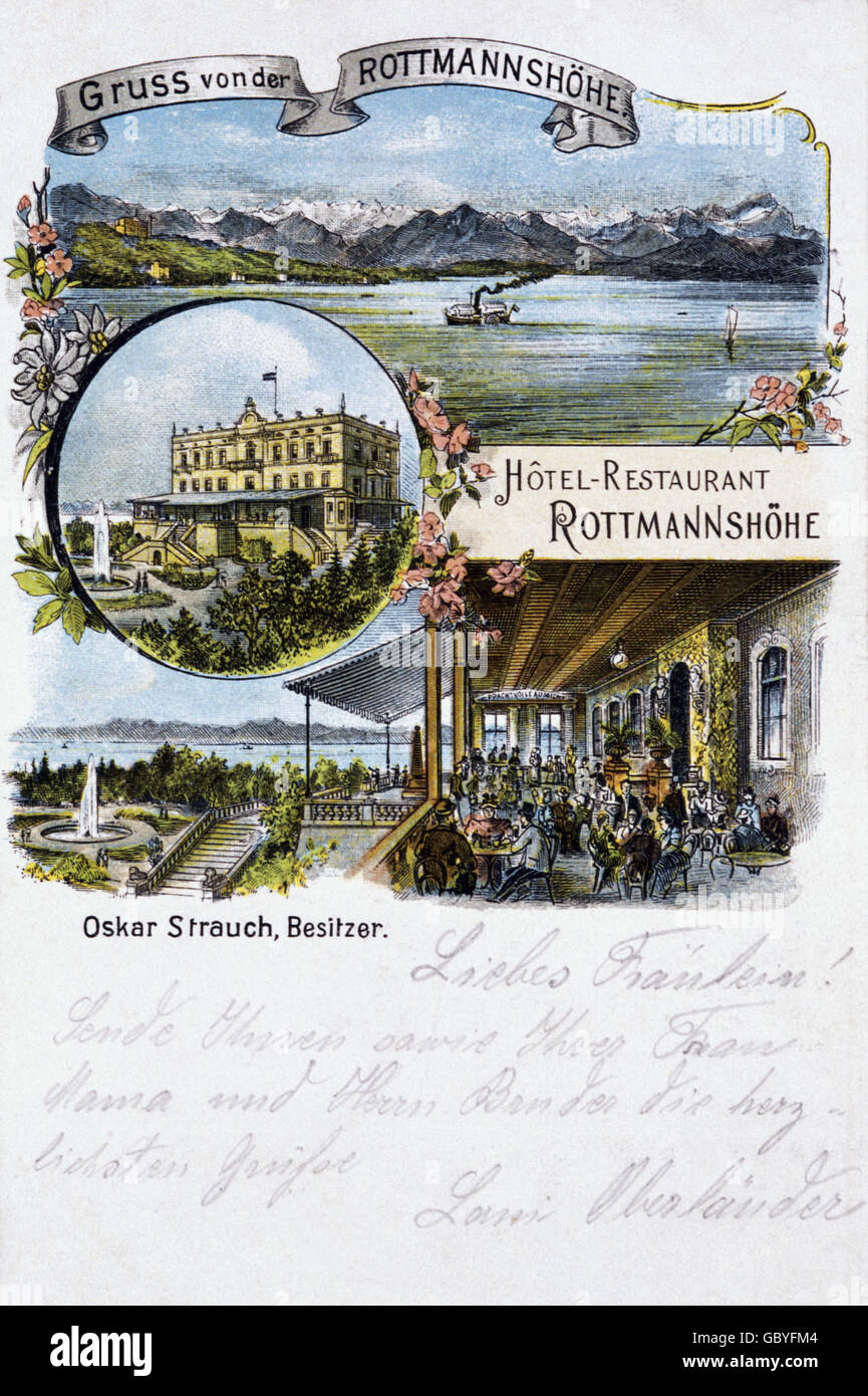 geography / travel, Germany, landscape / landscapes, Starnberg, postcard greetings from Rottmannshöhe with hotel Stock Photo