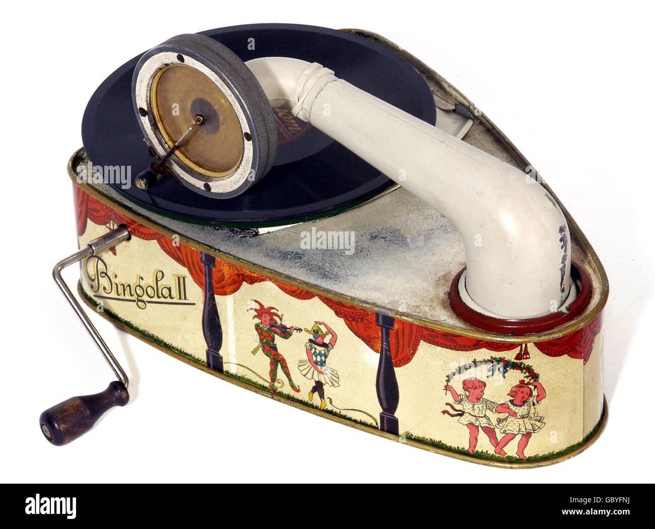 music, musical instruments, gramophone, for children, version Pixiephone, made by Bing company, Nuremberg, Germany, - Stock Image