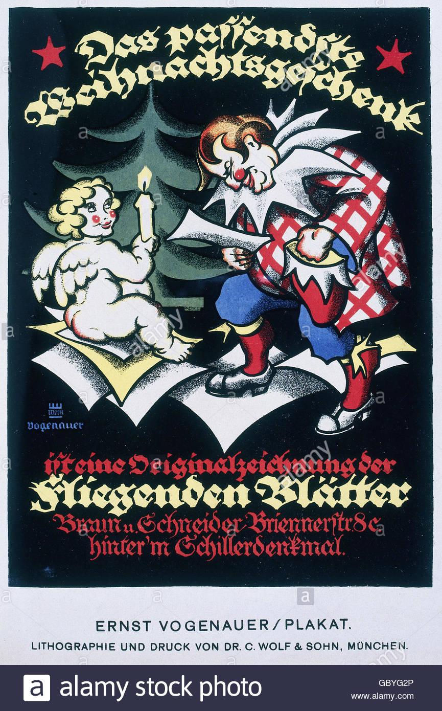 advertising, press / media, advertising poster for the 'Die Fliegenden Blätter' magazine, design: Ernst - Stock Image