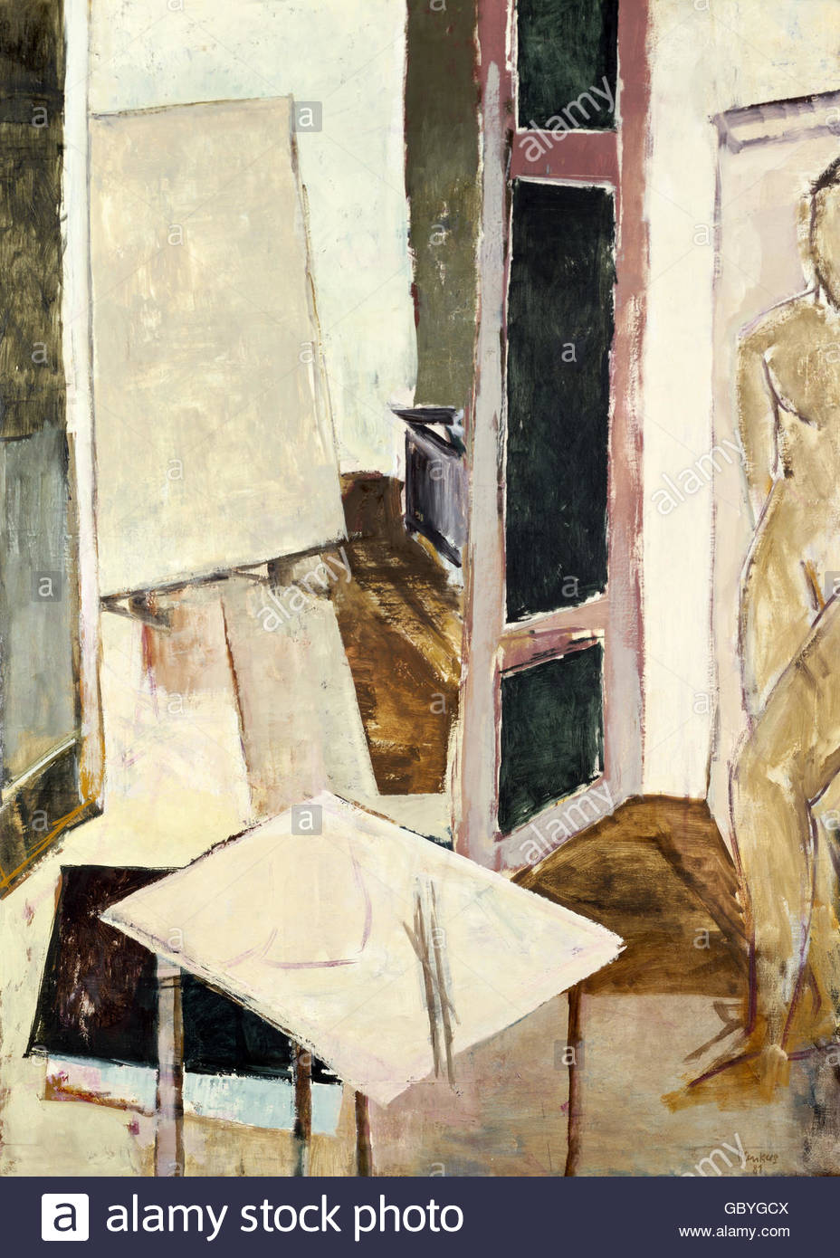 fine arts, Plenkers, Stefan, (* 1945), painting 'Atelierinterieur', 1981, Artist's Copyright must also - Stock Image