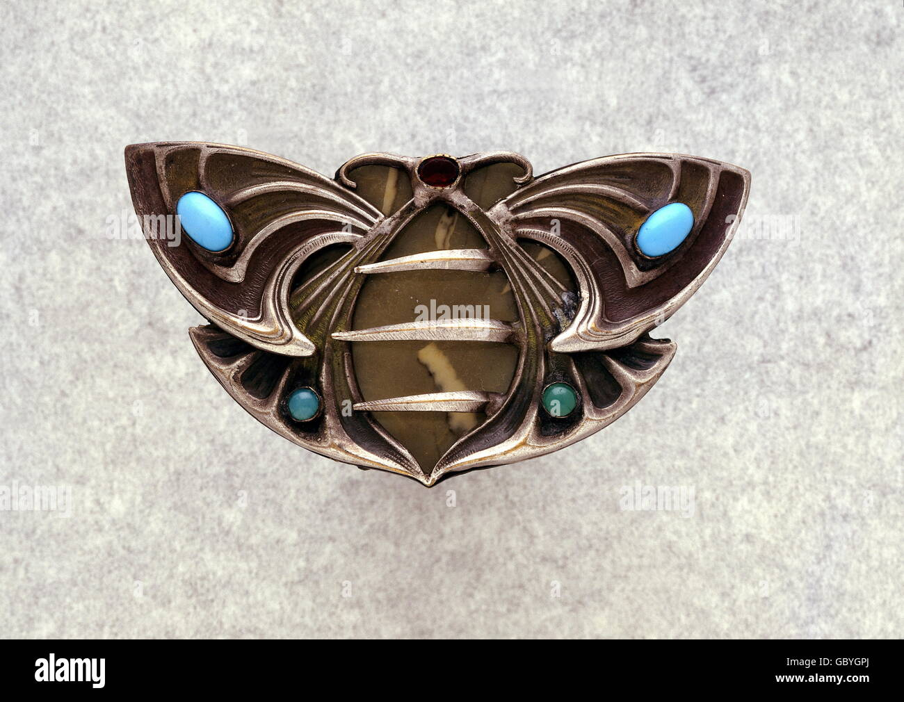 jewellery, belt buckle, belt buckle, white alloy, two glass stones, two-piece, circa 1900, Additional-Rights-Clearences - Stock Image