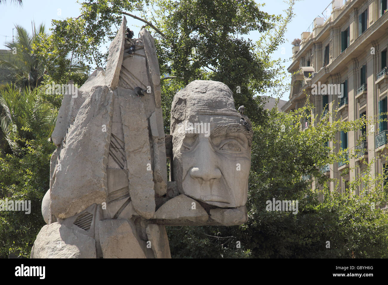 statue of indigenous people in downtown santiago chile - Stock Image