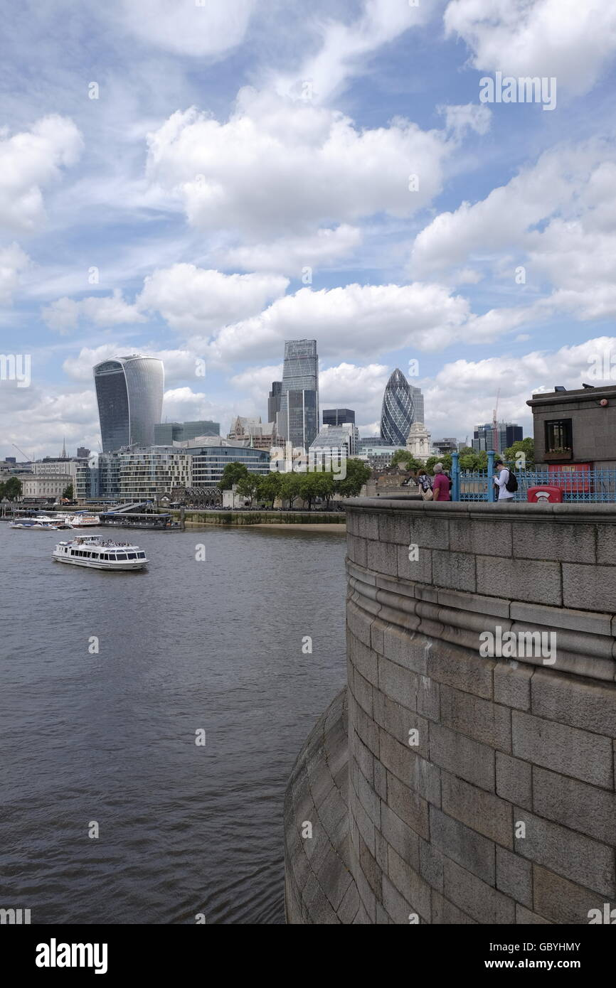 London CBD with 'The Walkie Talkie' 'Cheese Grater' and 'The Gherkin' London landmarks taken - Stock Image