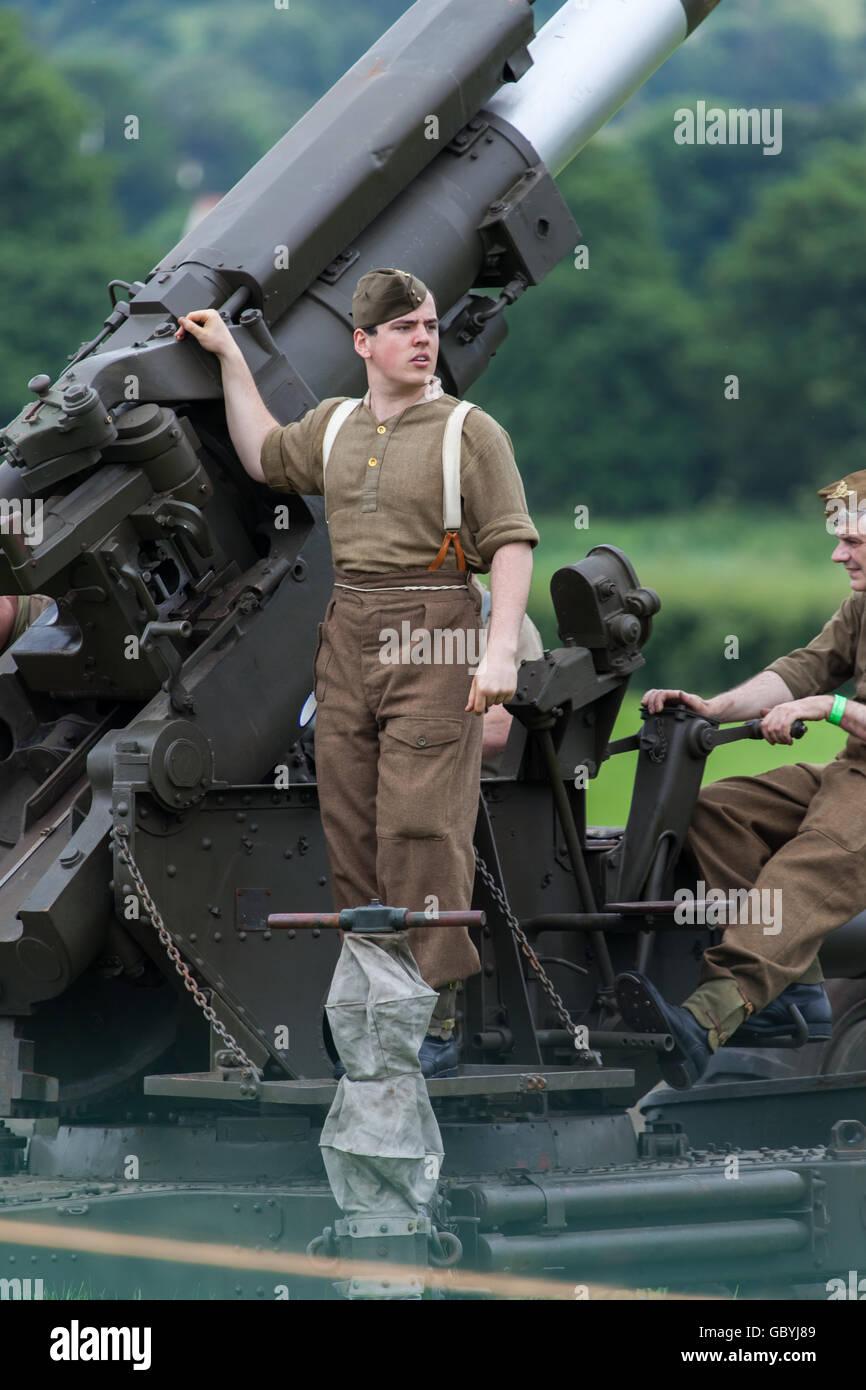 A World War 2 re-enactment weekend with an Anti-Aircraft Battery gun - Stock Image
