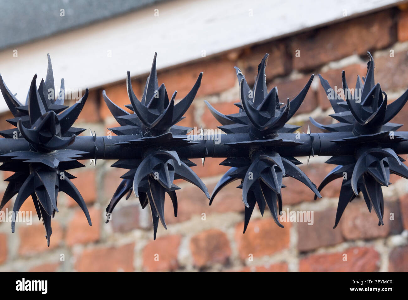 Security perimeter fence with sharp cast iron spikes - Stock Image