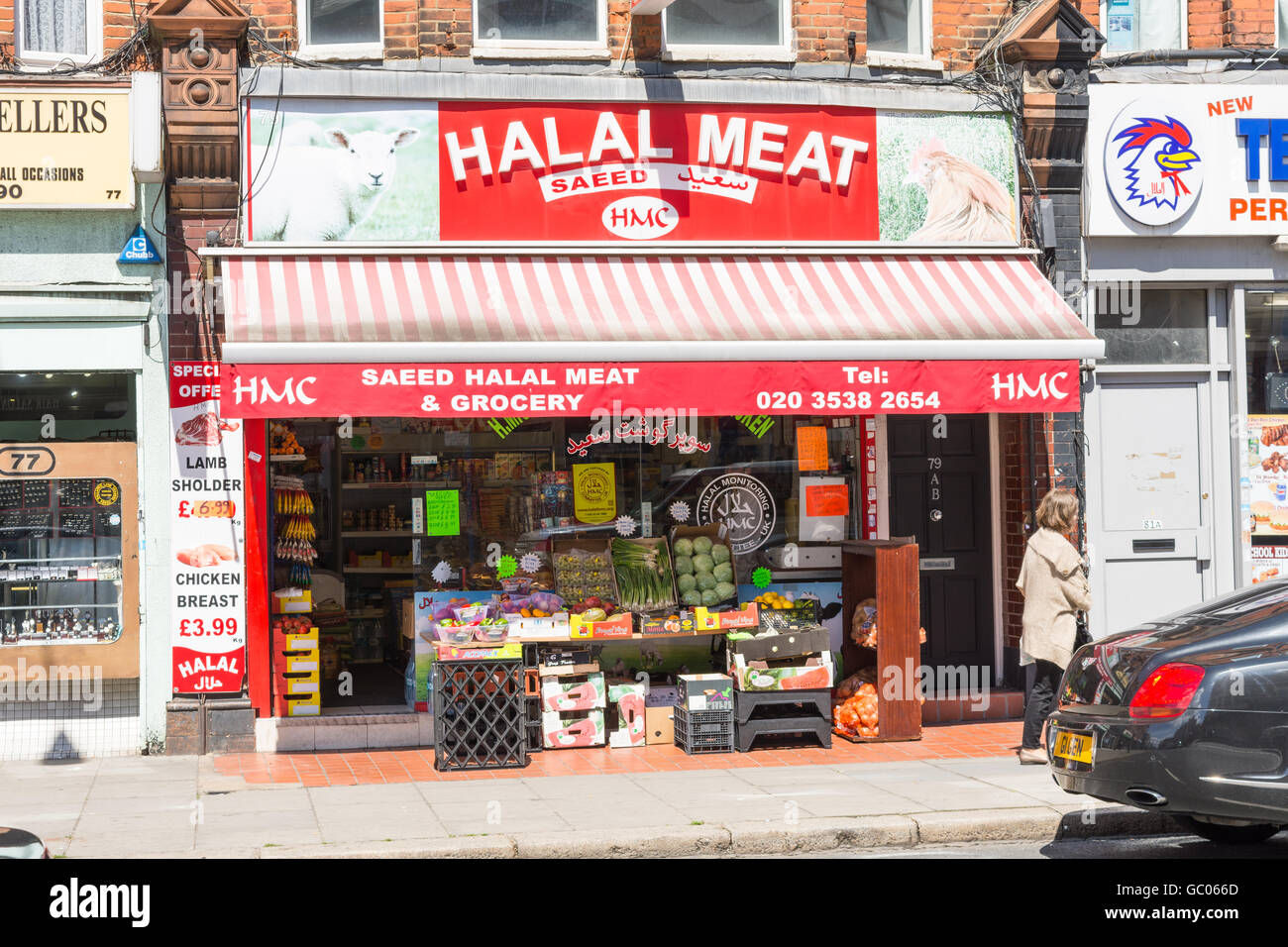 Store Front View Of Halal Grocery And Meat Shop In London England With Produce Displayed On