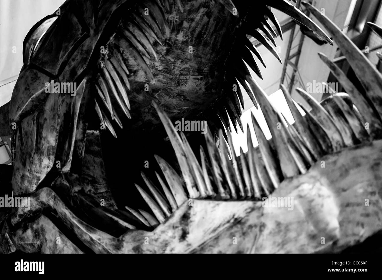 Close-Up Of Dinosaur Sculpture At Museum - Stock Image