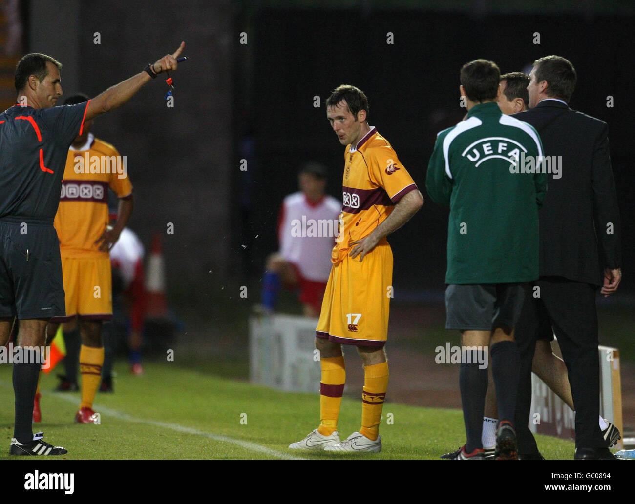 Soccer - Europa League - Third Round Qualifying - Leg Two - Motherwell v Steaua Bucharest - Fir Park Stock Photo