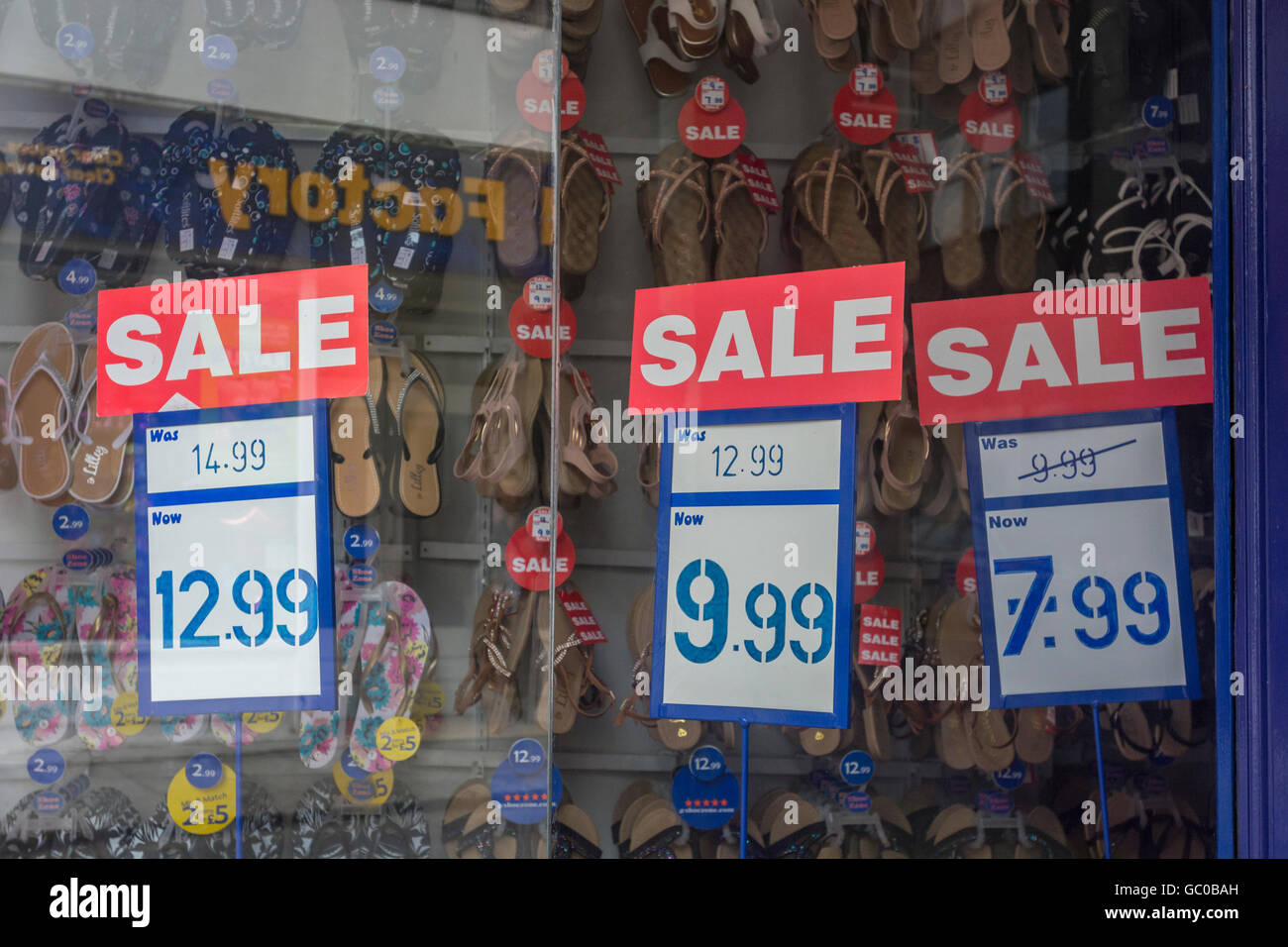 Hight street sales / retail sales / consumer confidence concept. Price reductions. Stock Photo