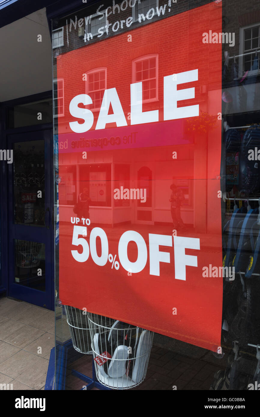 Hight street sales / retail sales / consumer confidence concept. Half-price sign. Price reductions. Stock Photo