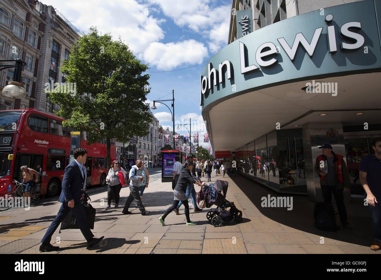 John Lewis department store exterior, main entrance on Oxford Street, London, England, United Kingdom - Stock Image