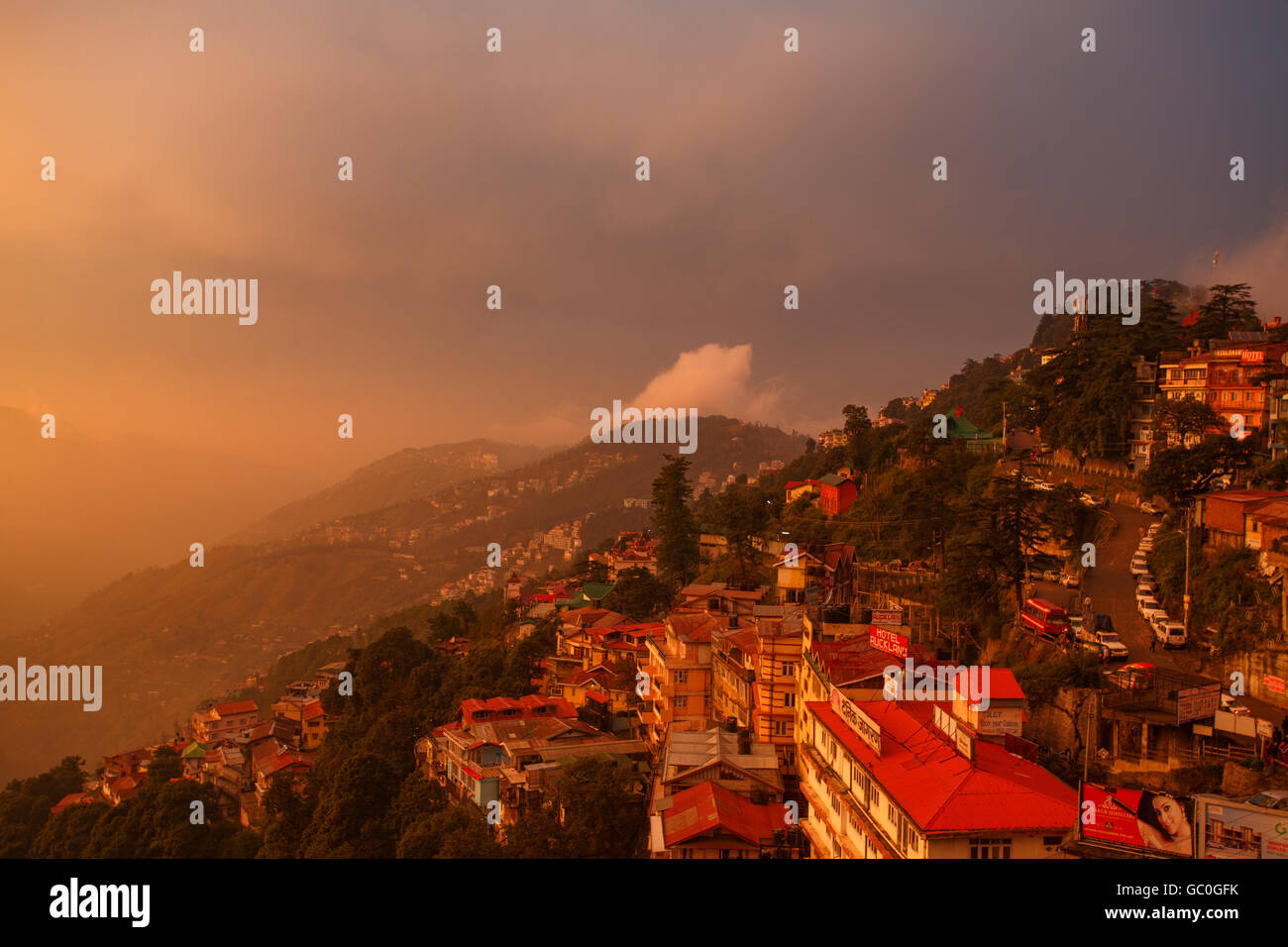 Awesome View of Shimla during Sunset - Stock Image