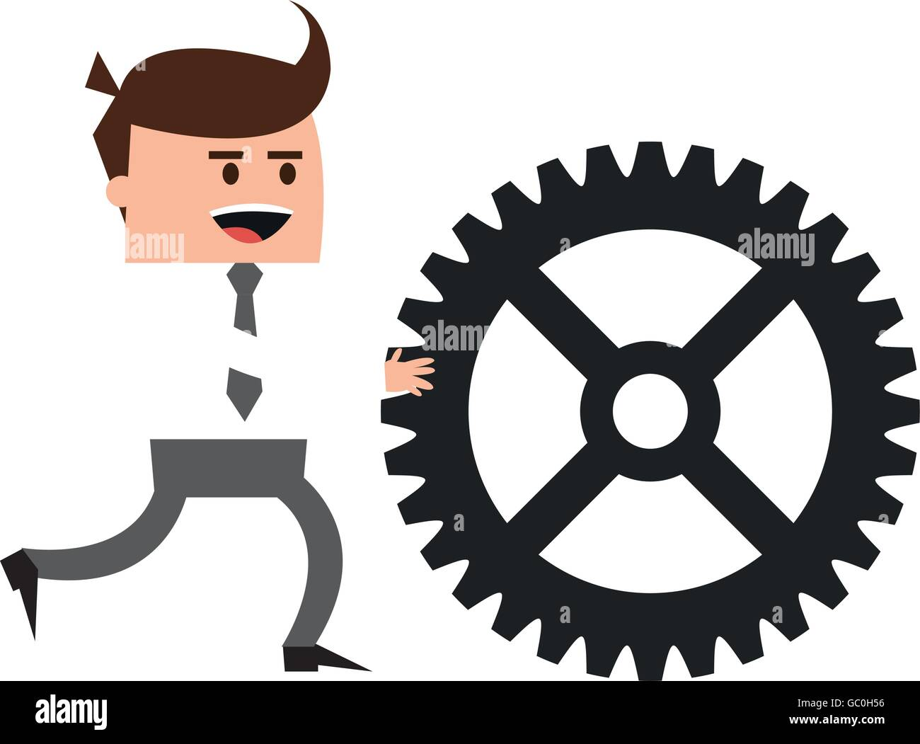 businessman with gear icon - Stock Vector