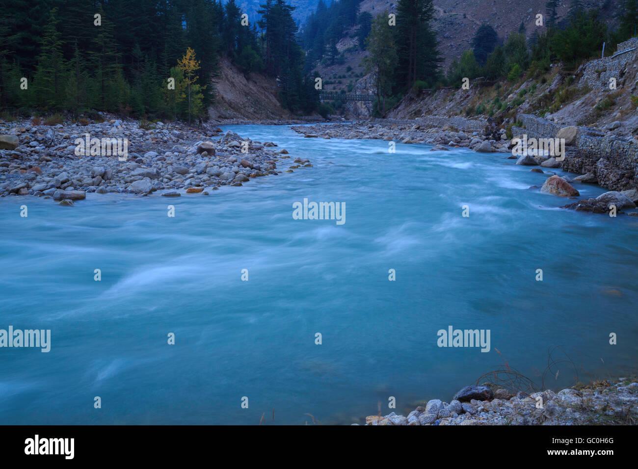 Beautiful Baspa river flowing through Sangla valley of Himachal Pradesh Stock Photo