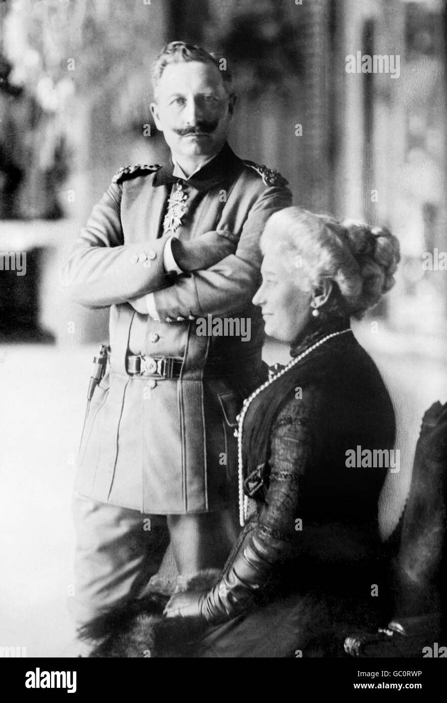 Portrait of Kaiser Wilhelm II (1859-1941), Emperor of Germany and King of Prussia, and his wife, Kaiserin Augusta - Stock Image