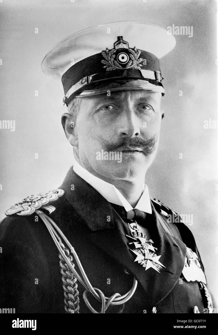 Kaiser Wilhelm II (1859-1941). Portrait of the Emperor of Germany and King of Prussia, wearing naval uniform.  Photo - Stock Image