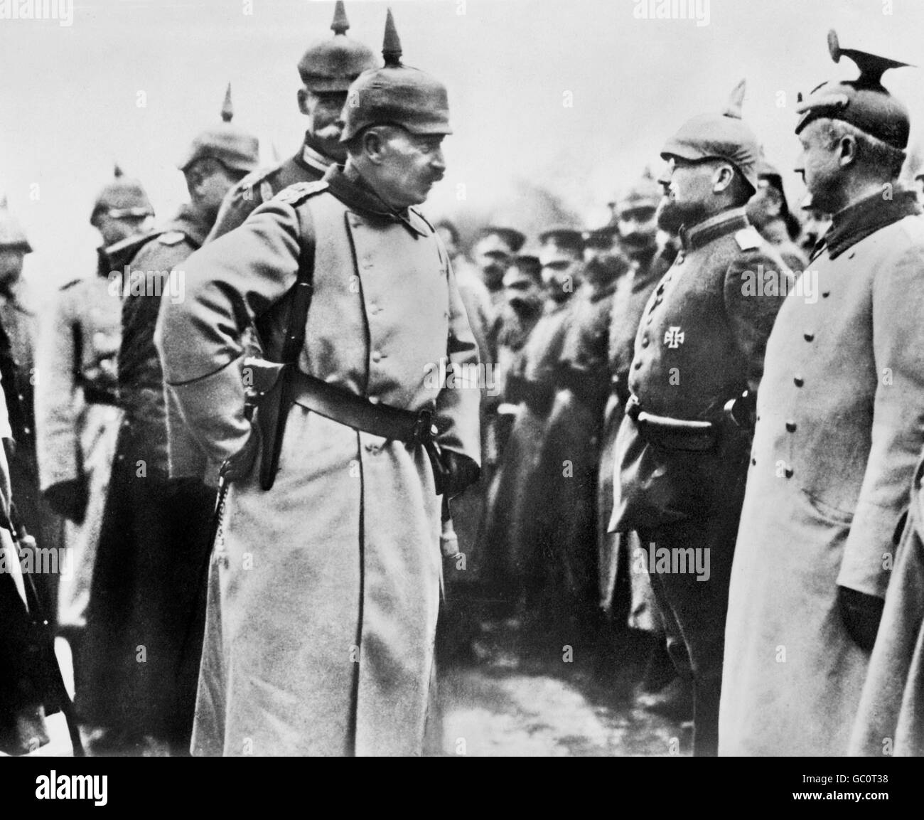 Kaiser Wilhelm II (1859-1941), Emperor of Germany and King of Prussia, inspecting his troops during WWI. Photo from - Stock Image