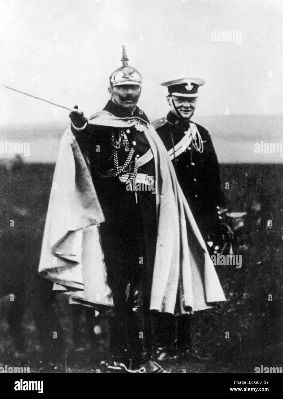 Kaiser Wilhelm II (1859-1941), Emperor of Germany and King of Prussia, with a young Winston Churchill on German - Stock Image