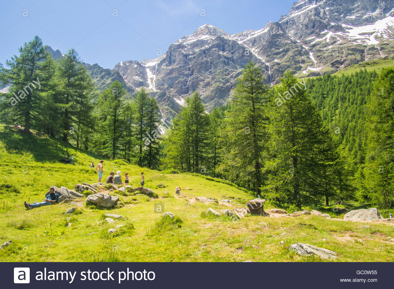 Beside Lago Blu (Lake Blue), Aosta Valley, Italy. - Stock Image