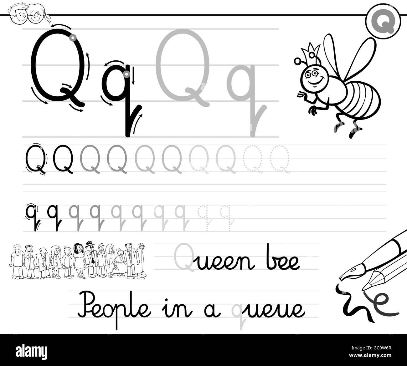 Black and White Cartoon Illustration of Writing Skills Practice with ...