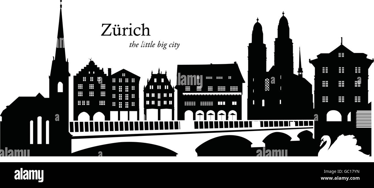 Vector illustration of the skyline of Zurich, Switzerland - Stock Vector