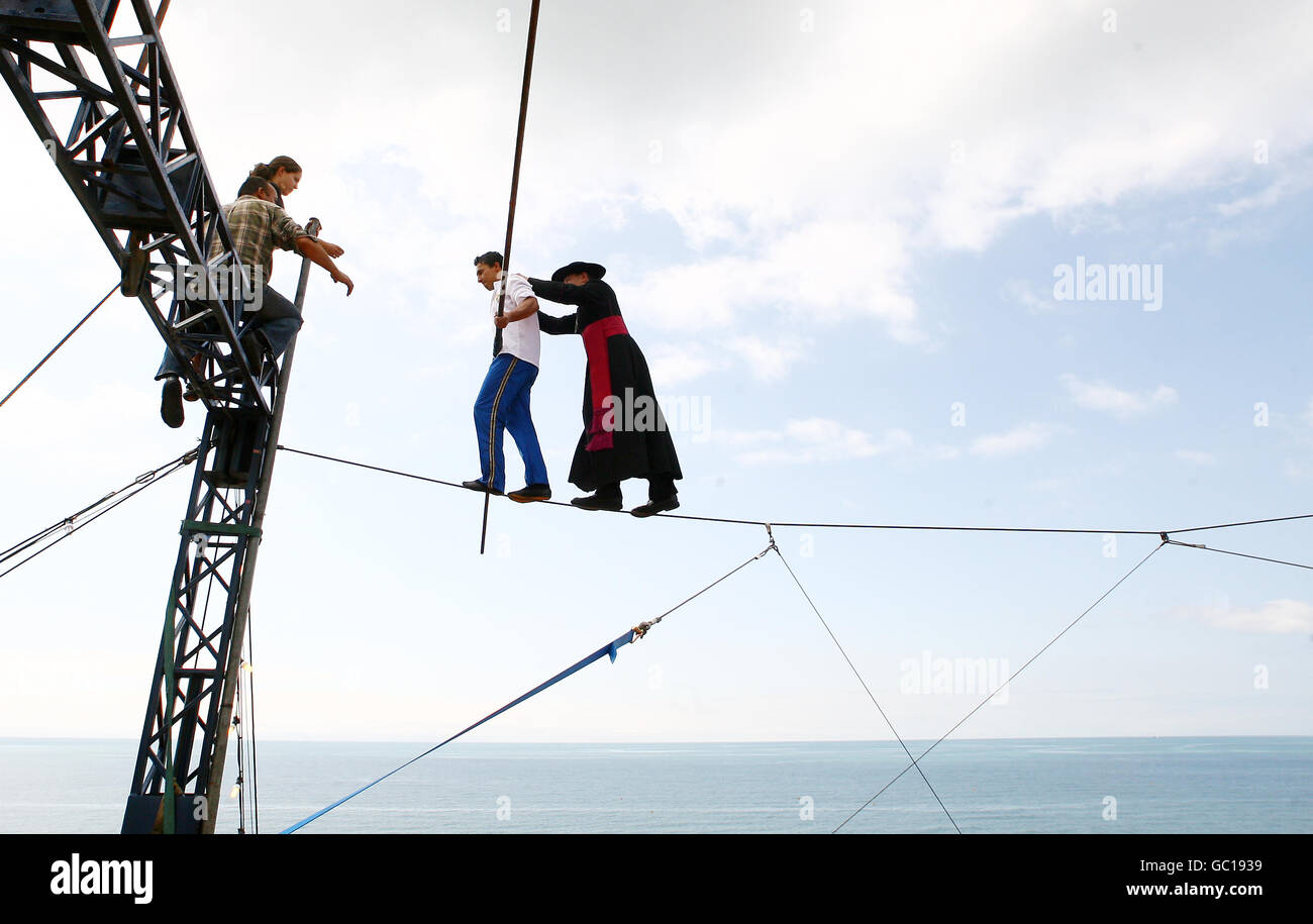 A High Wire Walker At Zippos Circus Currently In Hove Stock Photos ...