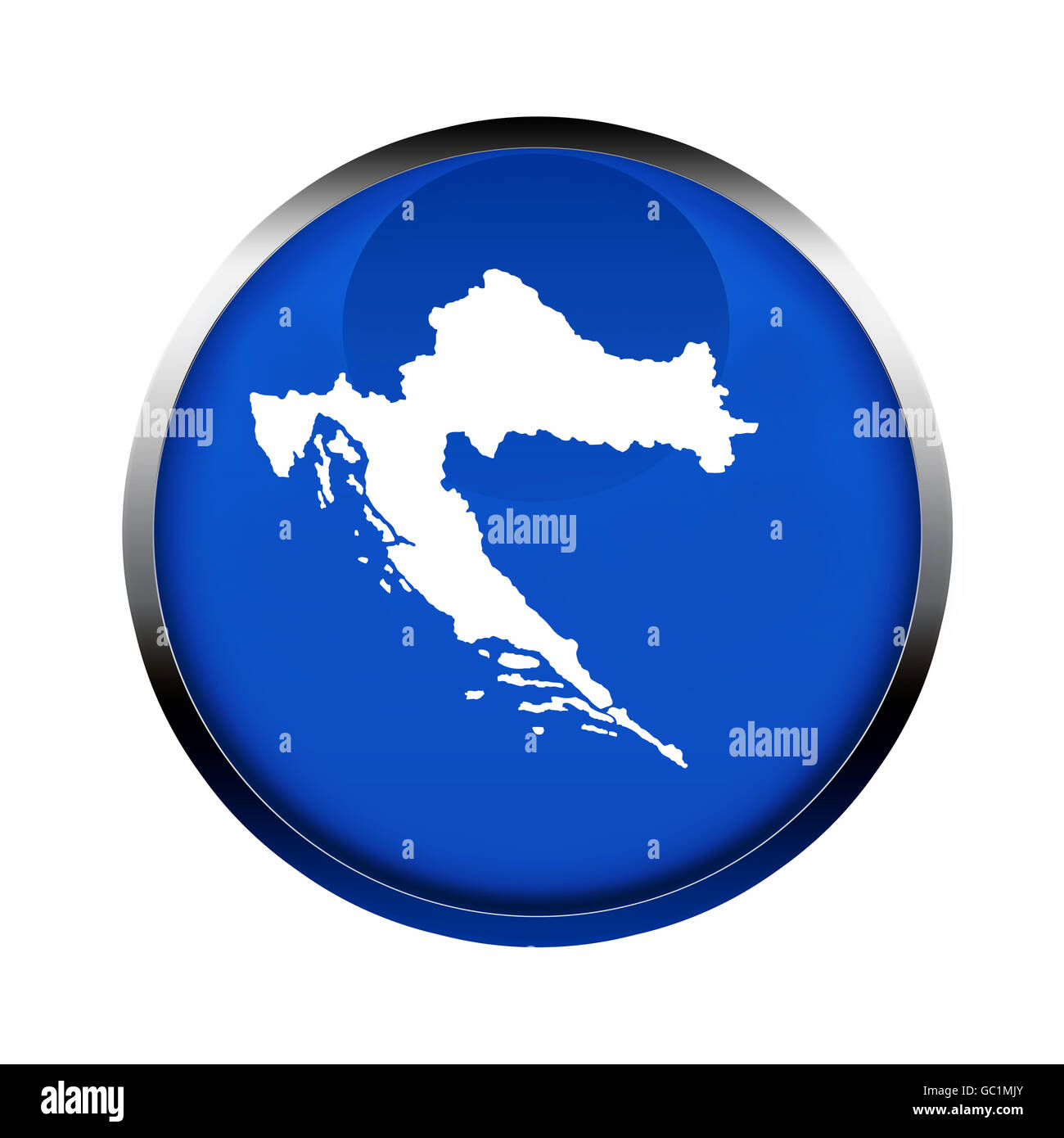 Croatia map button in the colors of the European Union. - Stock Image