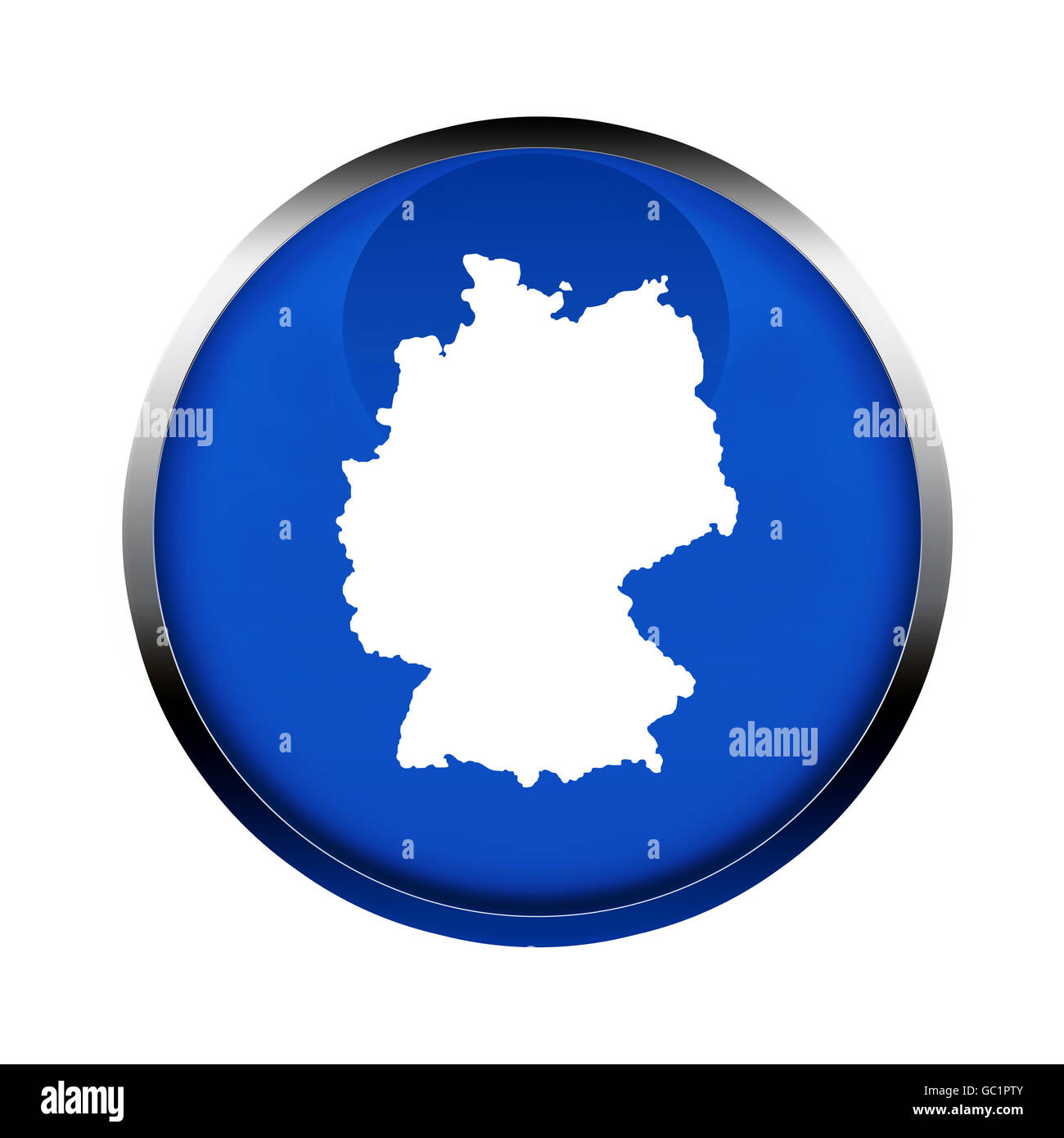 Germany map button in the colors of the European Union. - Stock Image