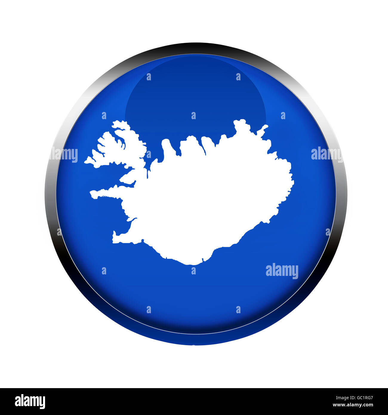 Iceland map button in the colors of the European Union. - Stock Image