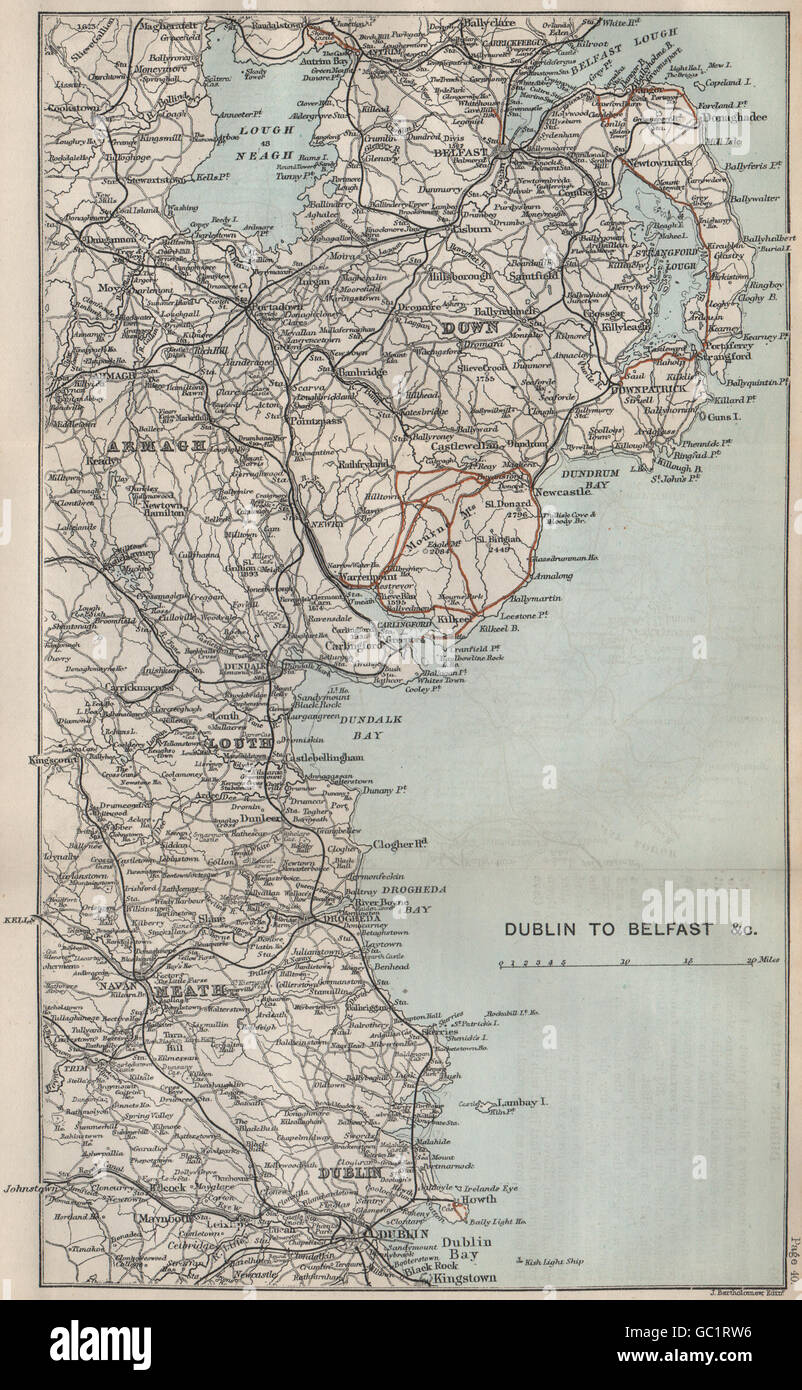 IRELAND EAST COAST Dublin To Belfast Armagh Down Louth Meath - Old maps of dublin