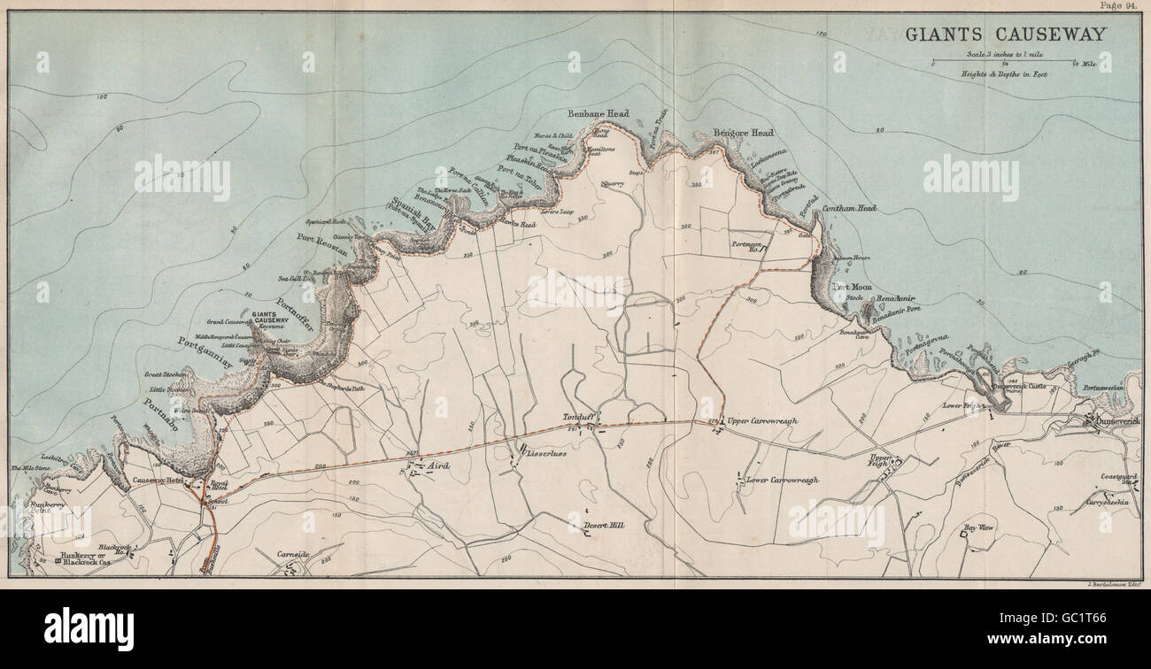 Map Of Ireland Giants Causeway.Giant S Causeway Antrim Northern Ireland Bartholomew 1887