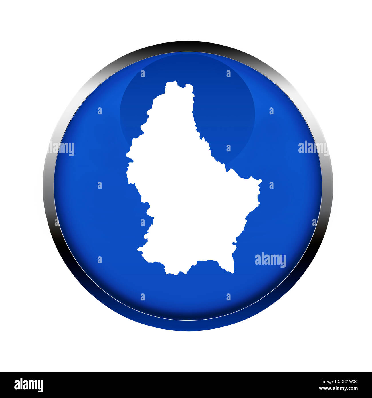 Luxembourg map button in the colors of the European Union. - Stock Image
