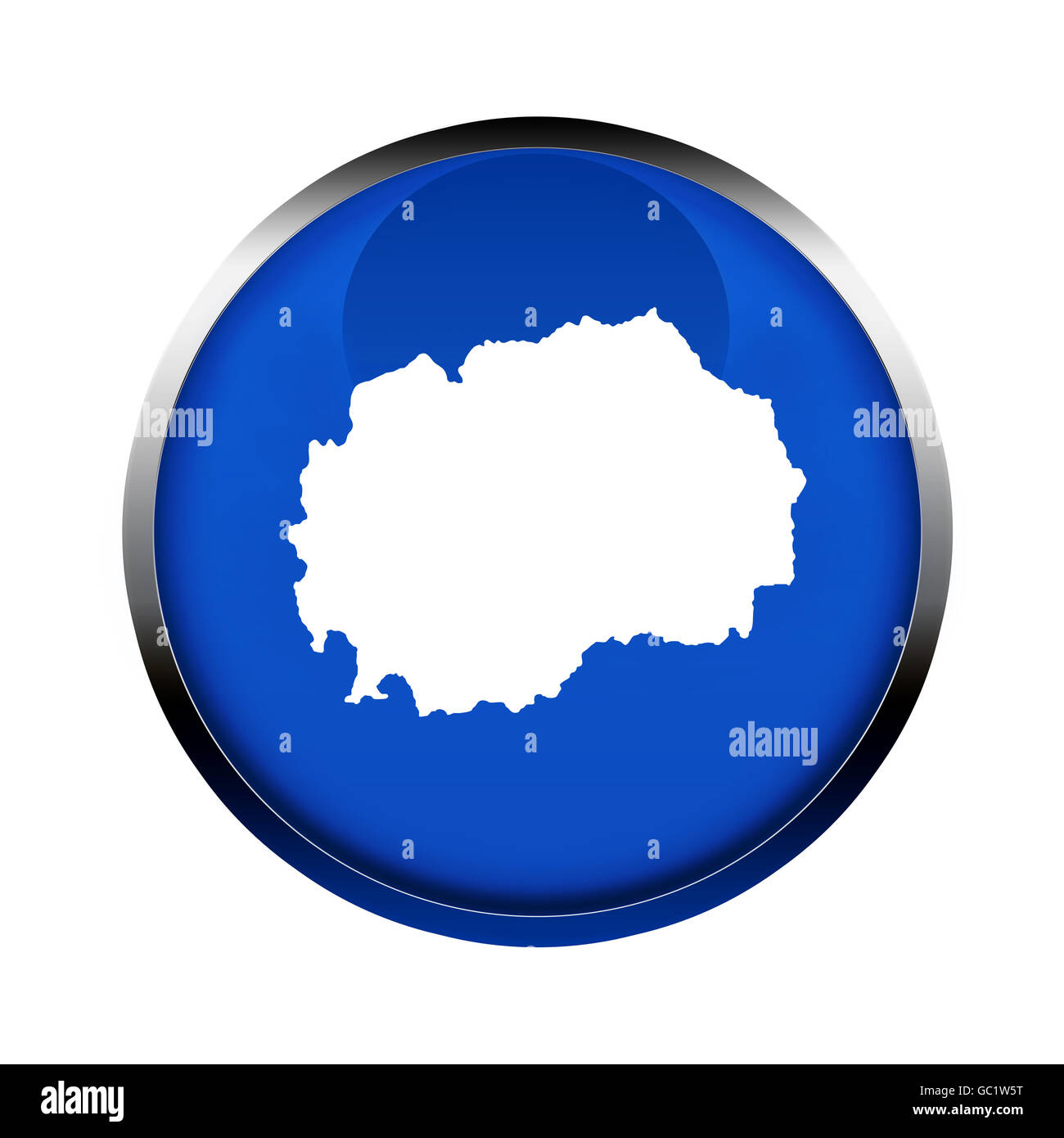 Macedonia map button in the colors of the European Union. - Stock Image