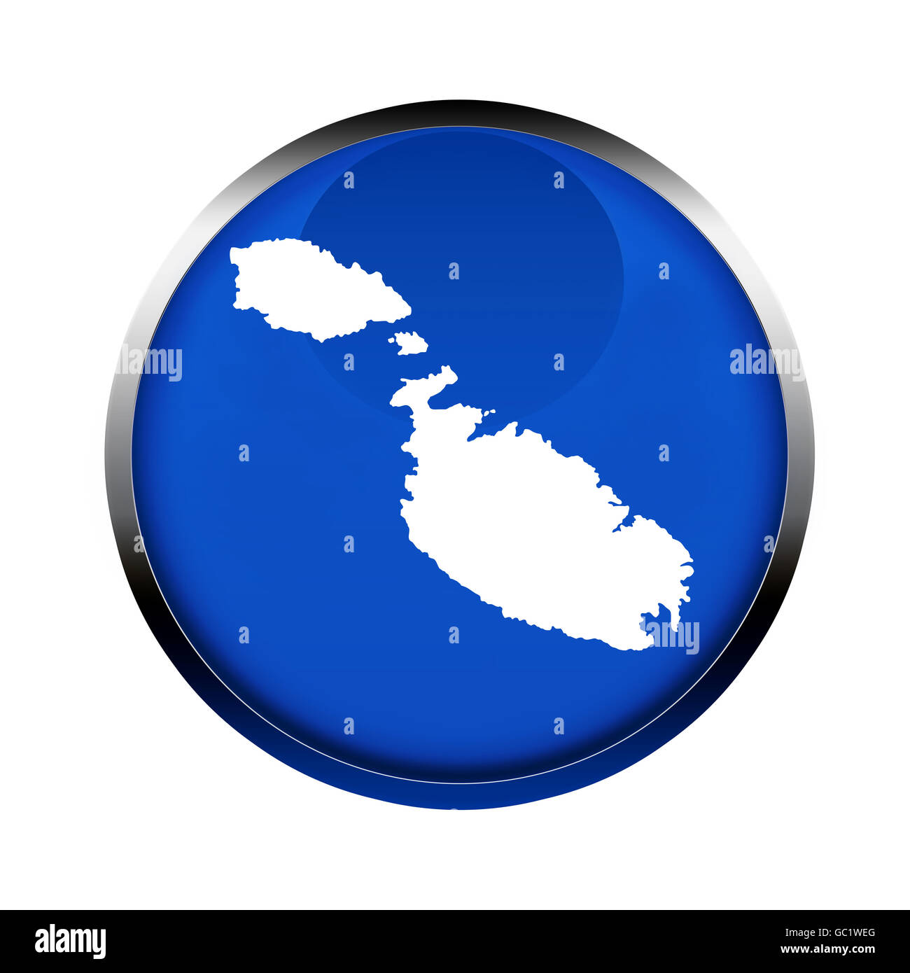 Malta map button in the colors of the European Union. - Stock Image