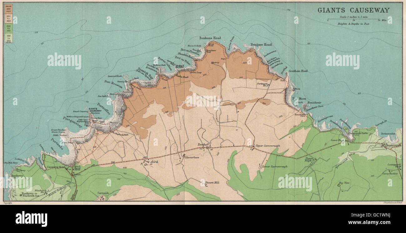 Map Of Ireland Giants Causeway.Giant S Causeway Antrim Northern Ireland Bartholomew 1902