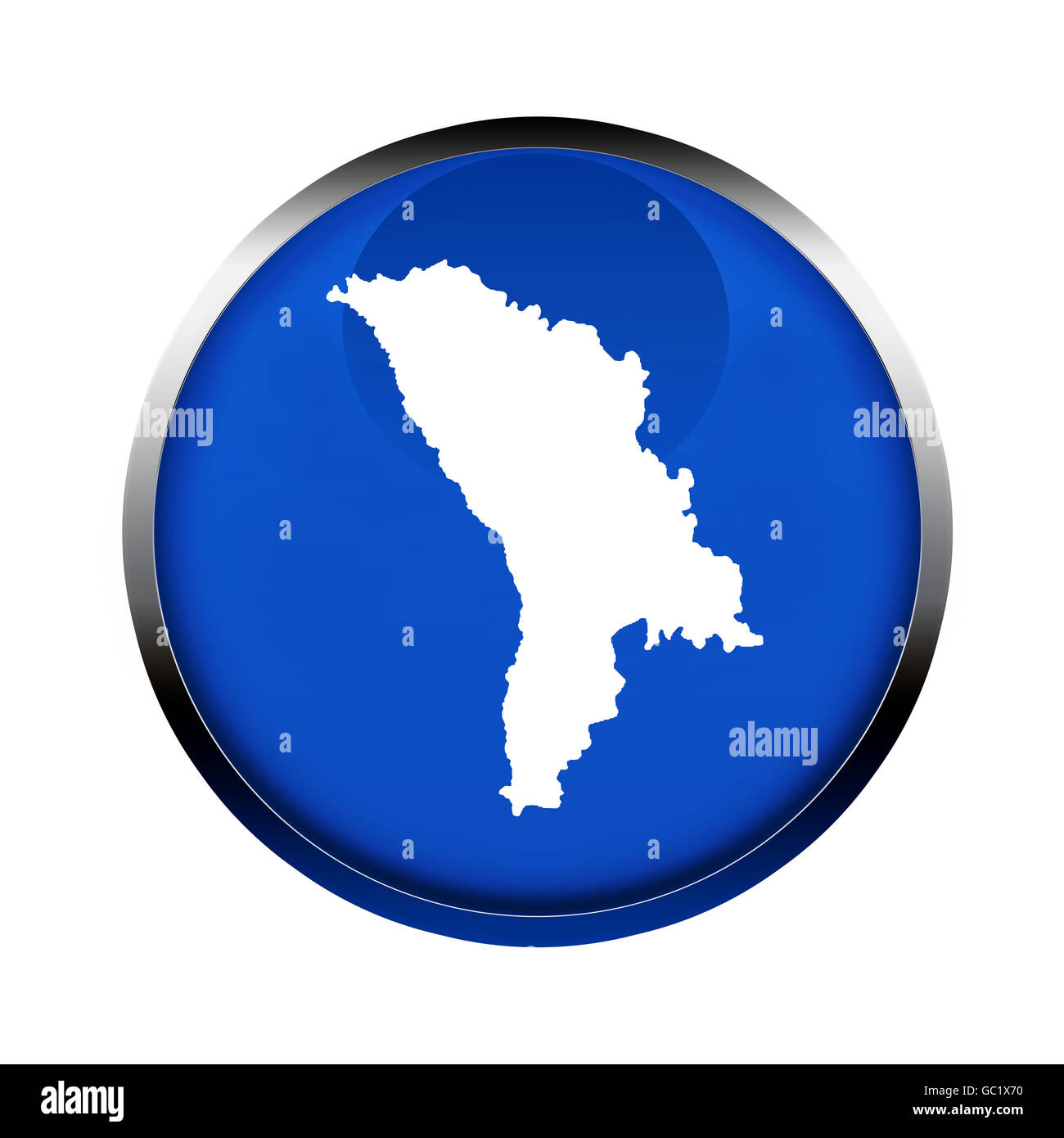 Moldova map button in the colors of the European Union. - Stock Image