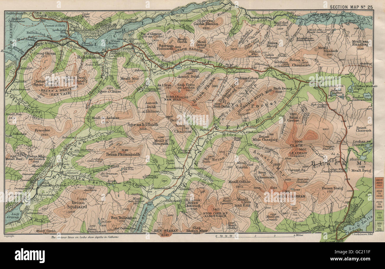 GLENCOE. Bidean Nam Bian Glen Etive Beinn a' Bheithir Creise, 1908 antique map Stock Photo