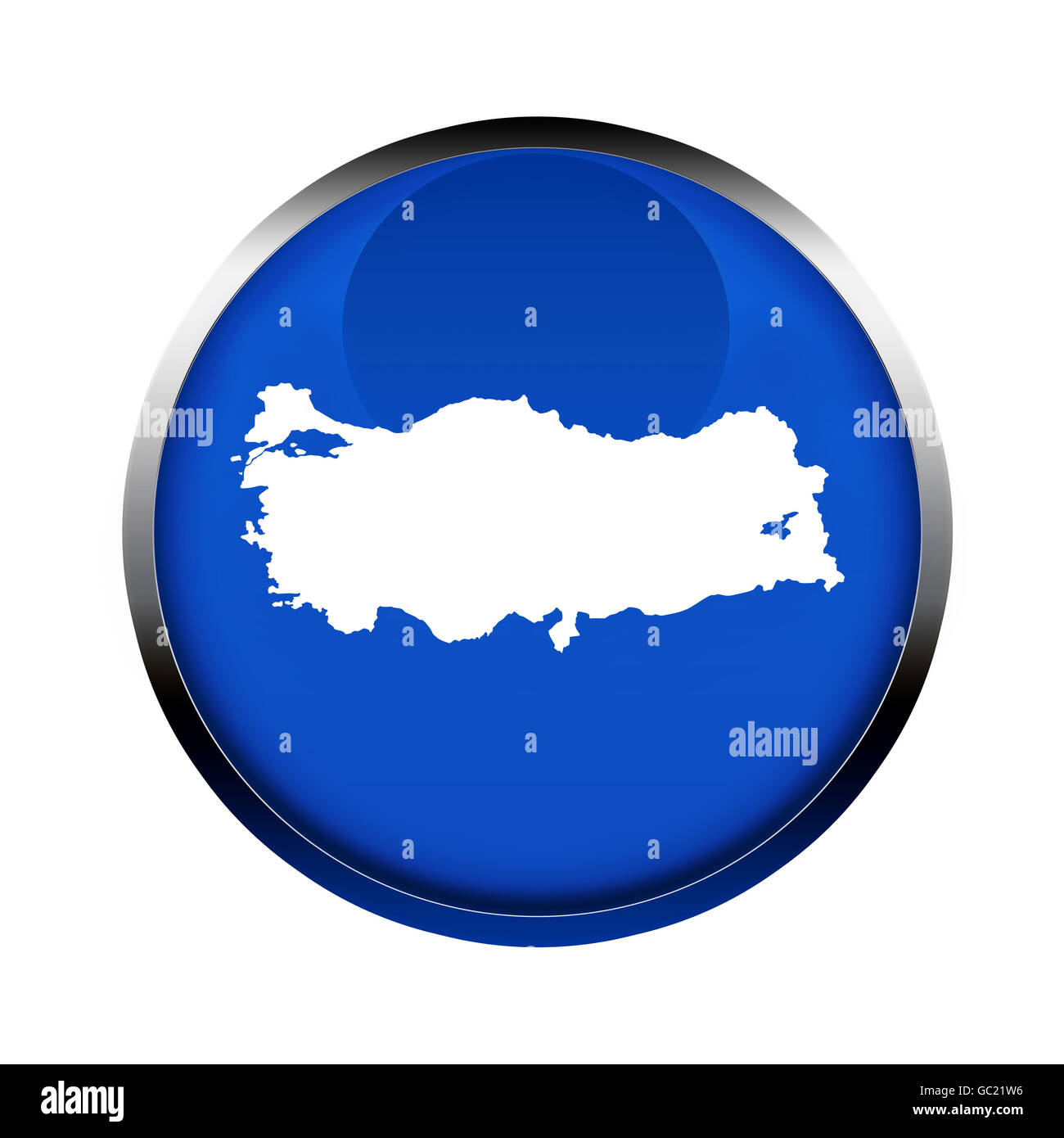 Turkey map button in the colors of the European Union. - Stock Image