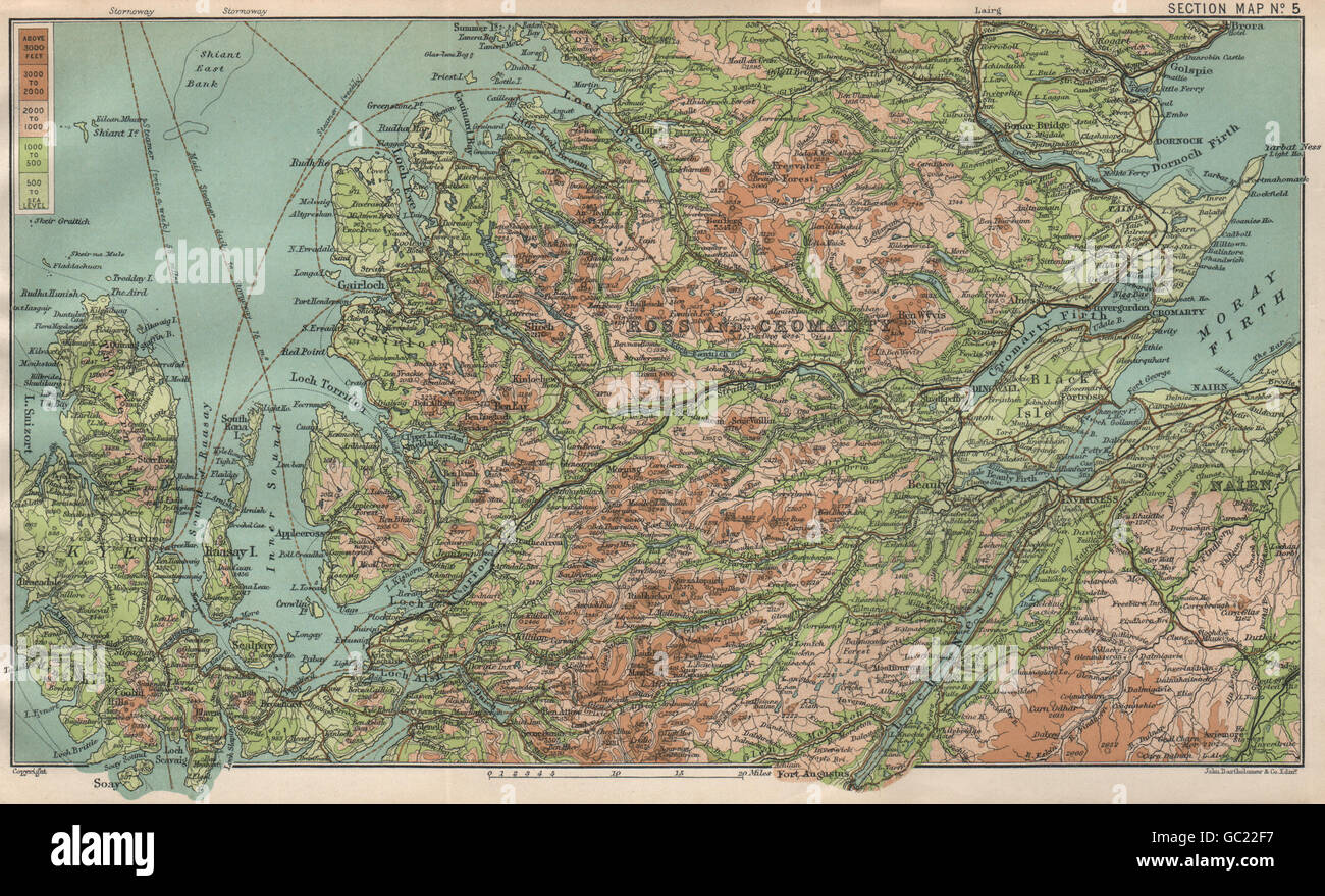 SCOTTISH HIGHLANDS. Ross & Cromarty. Skye. BARTHOLOMEW, 1911 antique map - Stock Image