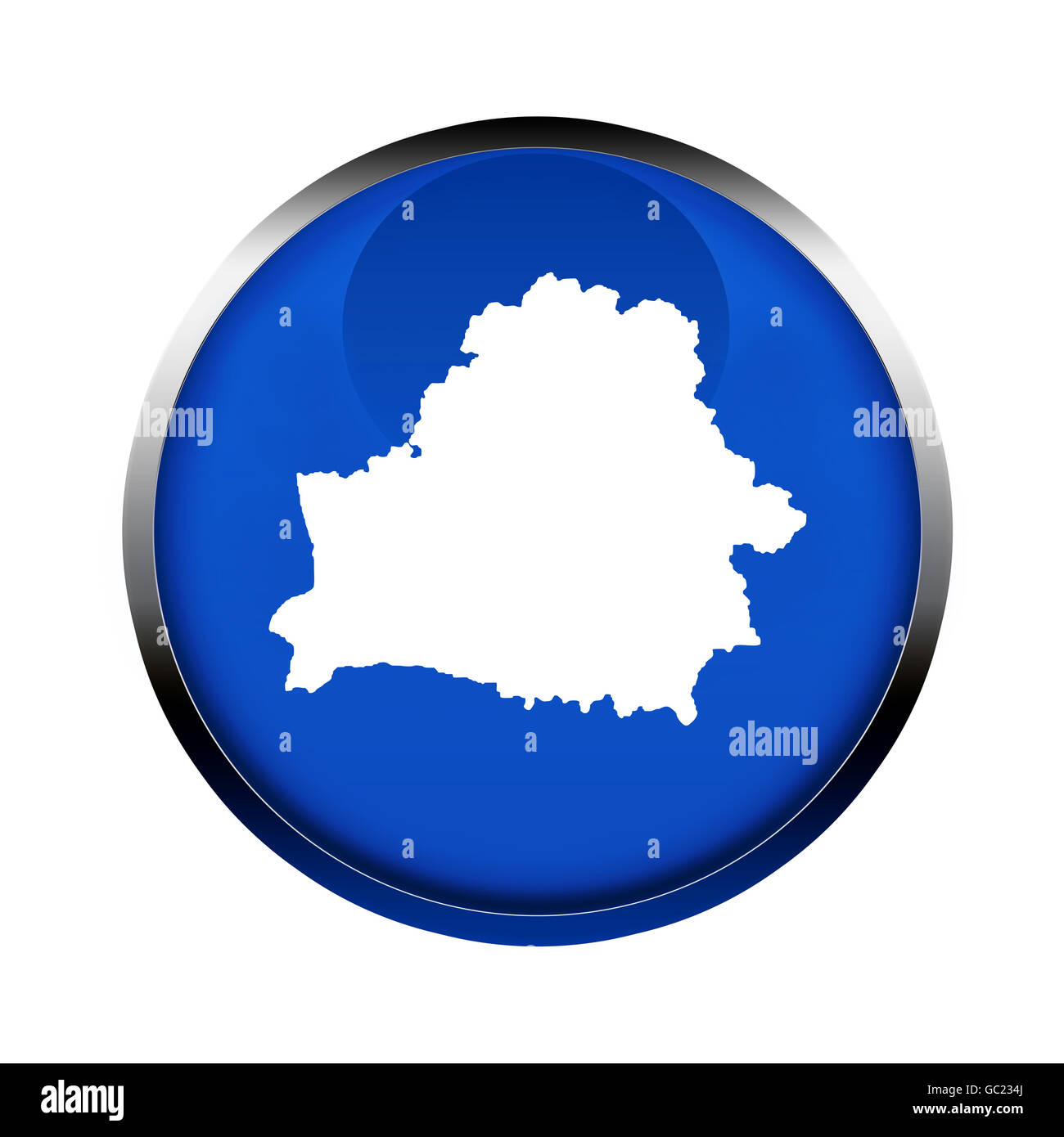 Belarus map button in the colors of the European Union. - Stock Image