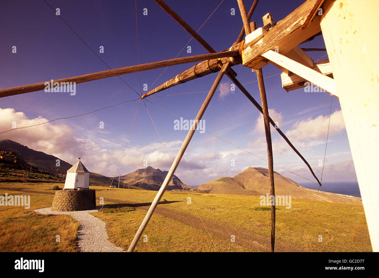 a traditional wind mill on the Island of Porto Santo ot the Madeira Islands in the Atlantic Ocean of Portugal. Stock Photo