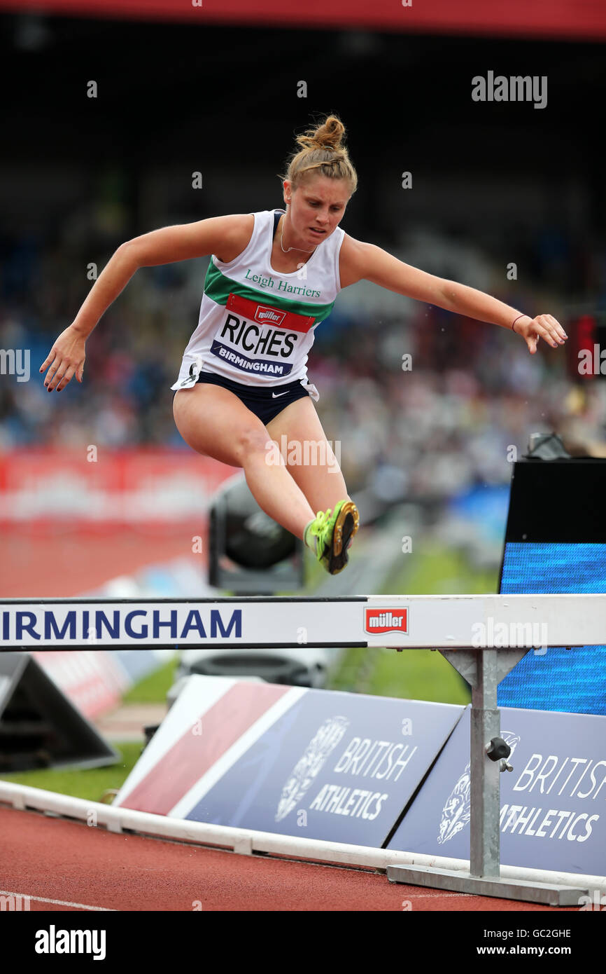 Laura RICHES Women's 3000m Steeplechase, 2016 British Championships, Birmingham Alexander Stadium, UK. - Stock Image