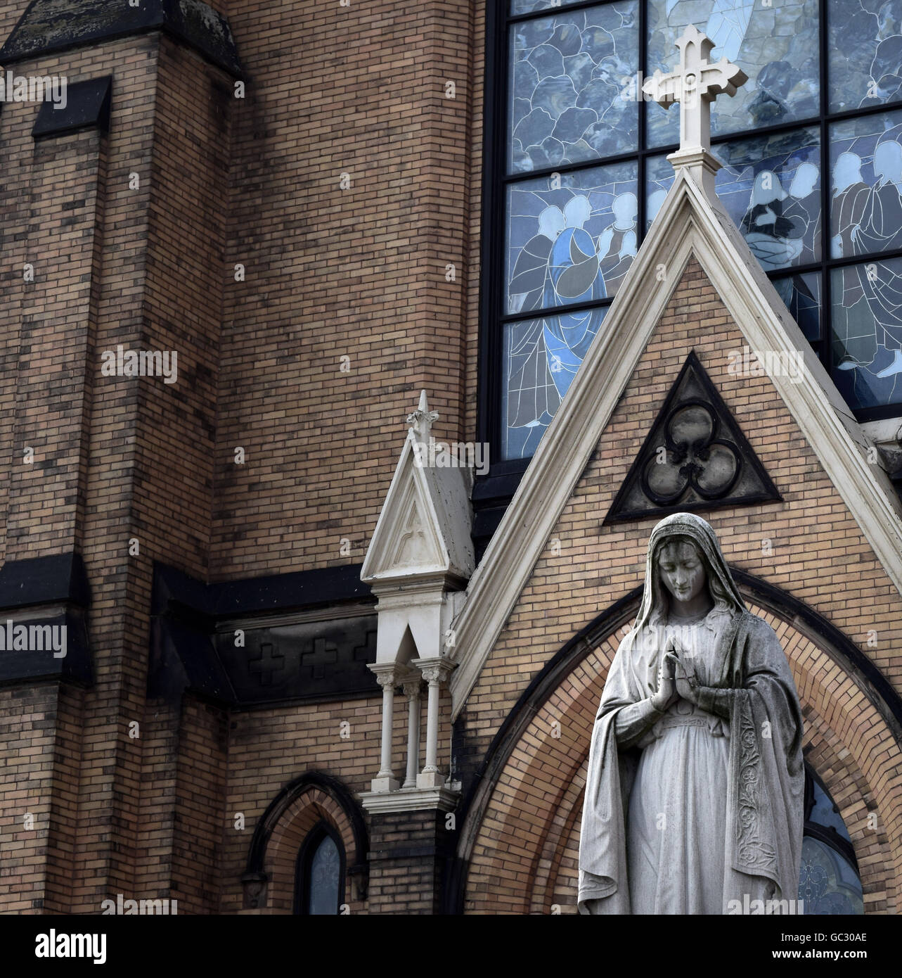 St Mary Of The Mount >> Statue Of Mary With St Mary Of The Mount In The Backdrop Stock