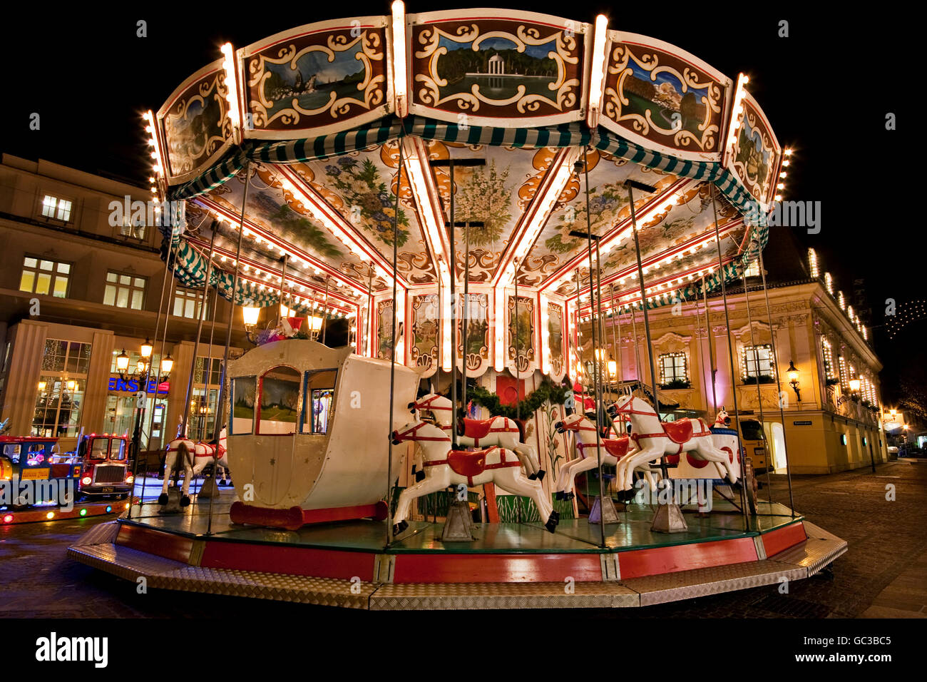 Merry-go-round at Christmastime - Stock Image